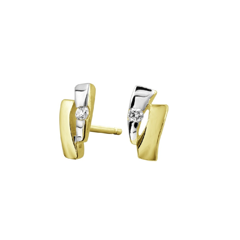 Stud Earrings for women - 2 tone Gold 10K (yellow and white) & cubic zirconia