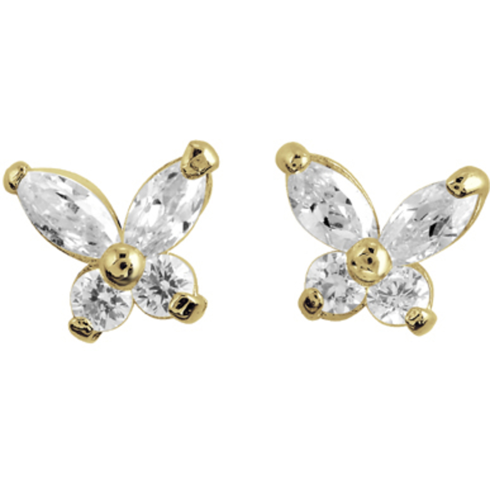 Butterfly stud earrings with cubic zirconia for children - 14K yellow Gold