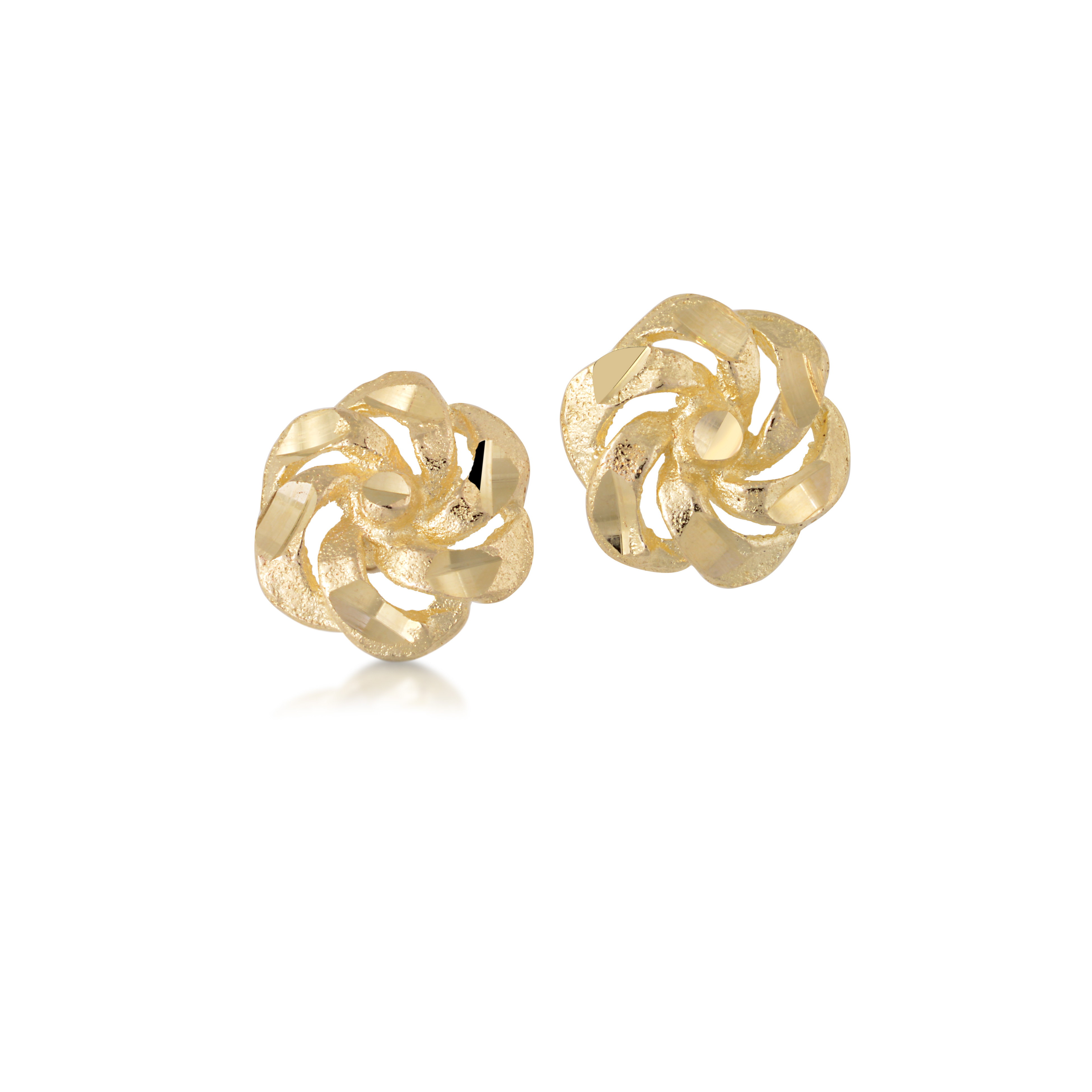Flower stud earrings with a polished and crystal cut finish - 10K yellow Gold