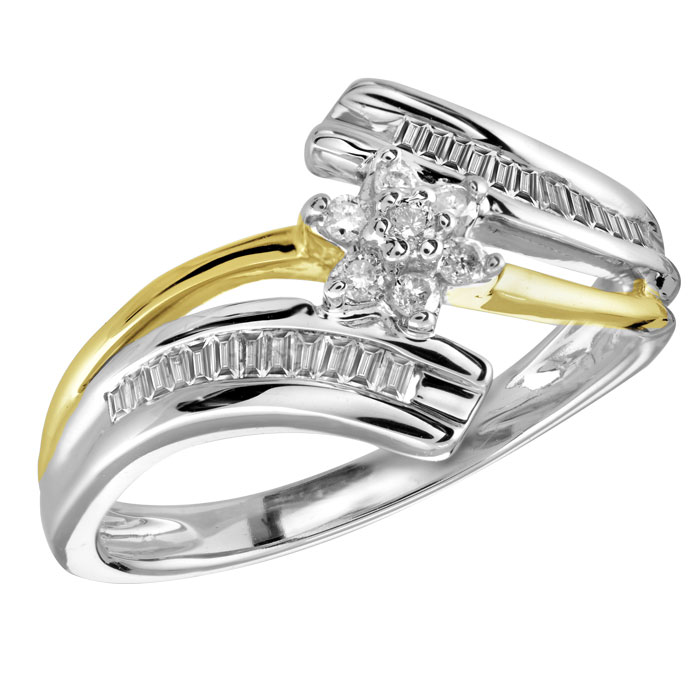 Flower ring for woman - 10K 2-tone Gold & Diamonds