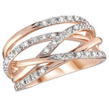 Cocktail ring - 10K rose Gold & Diamonds 0.15 Carat T.W.