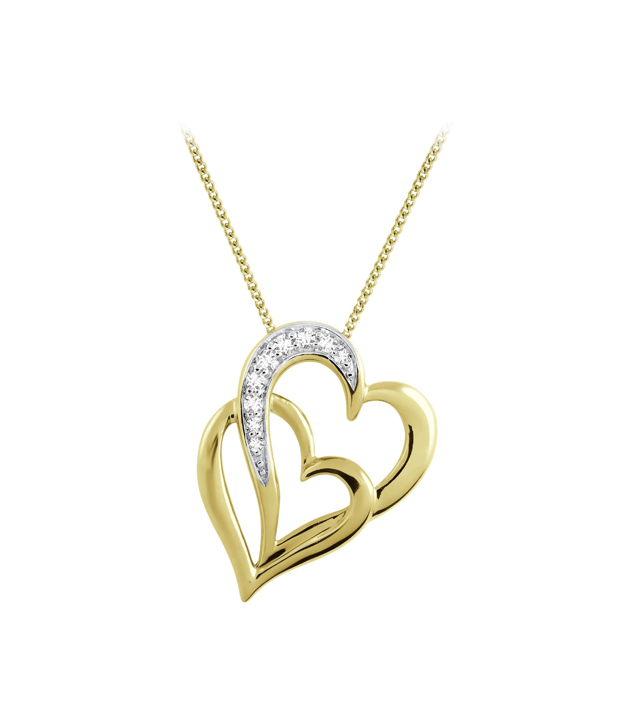 Pendentif coeur sertis de diamants totalisant 0.07 Carats Pureté:I Couleur:GH - en or jaune 10K - Chaîne incluse