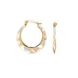 Boucles d'oreilles anneaux pour femme - Or 3-tons 10K (jaune blanc rose)