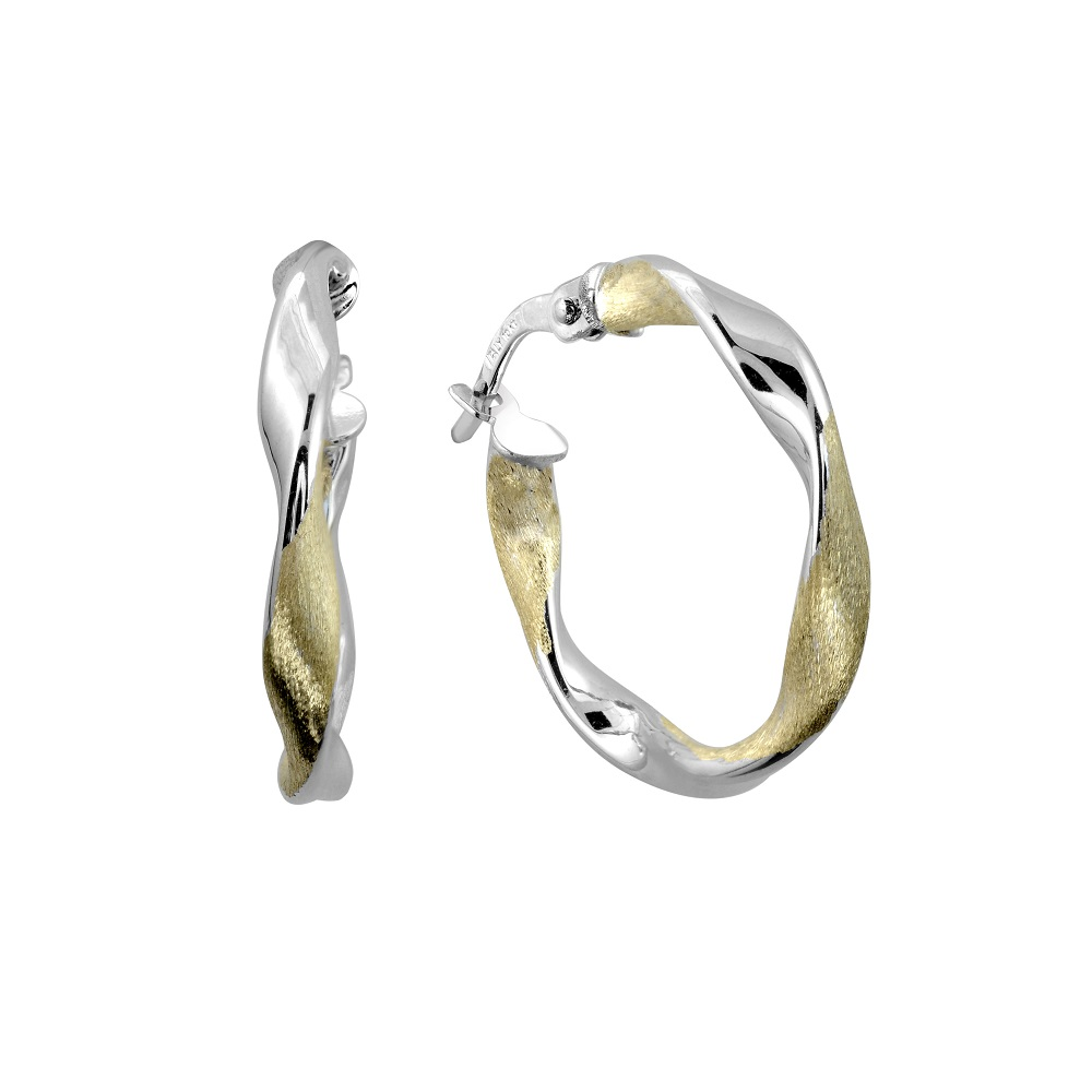 Twisted hoop earrings - 10K 2 tone Gold (yellow and white)