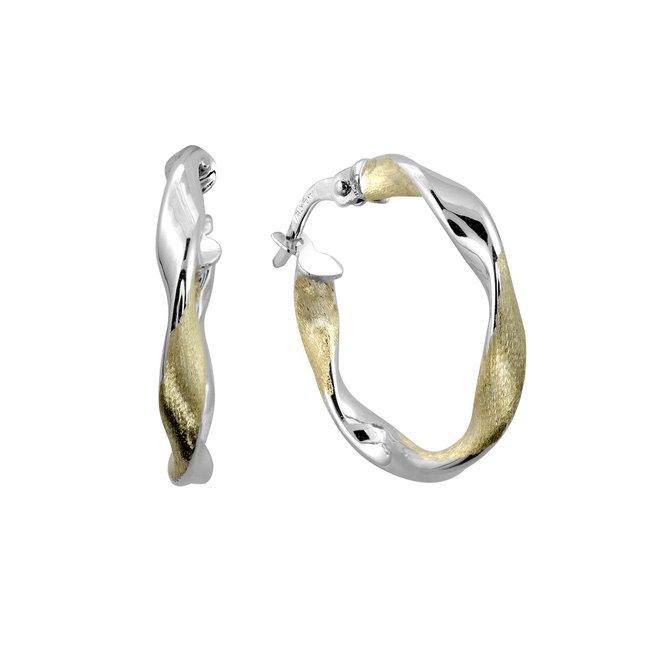 Boucles d'oreilles anneaux torsadées - Or 2-tons 10K (jaune et blanc)