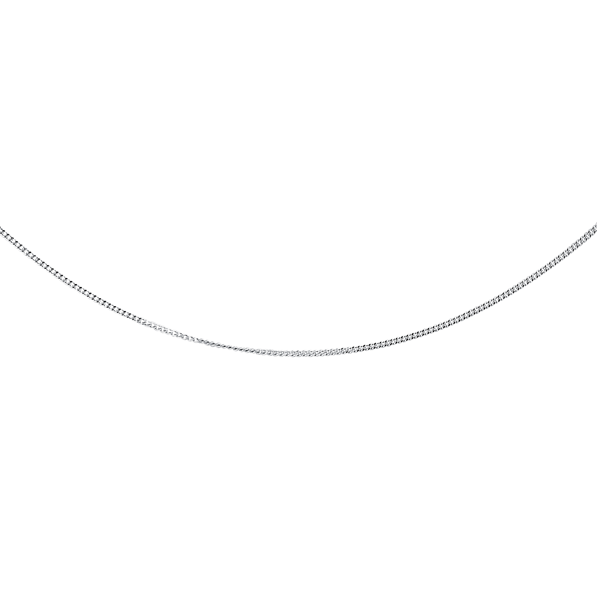 16'' Curb Chain for Ladies - 10K white Gold