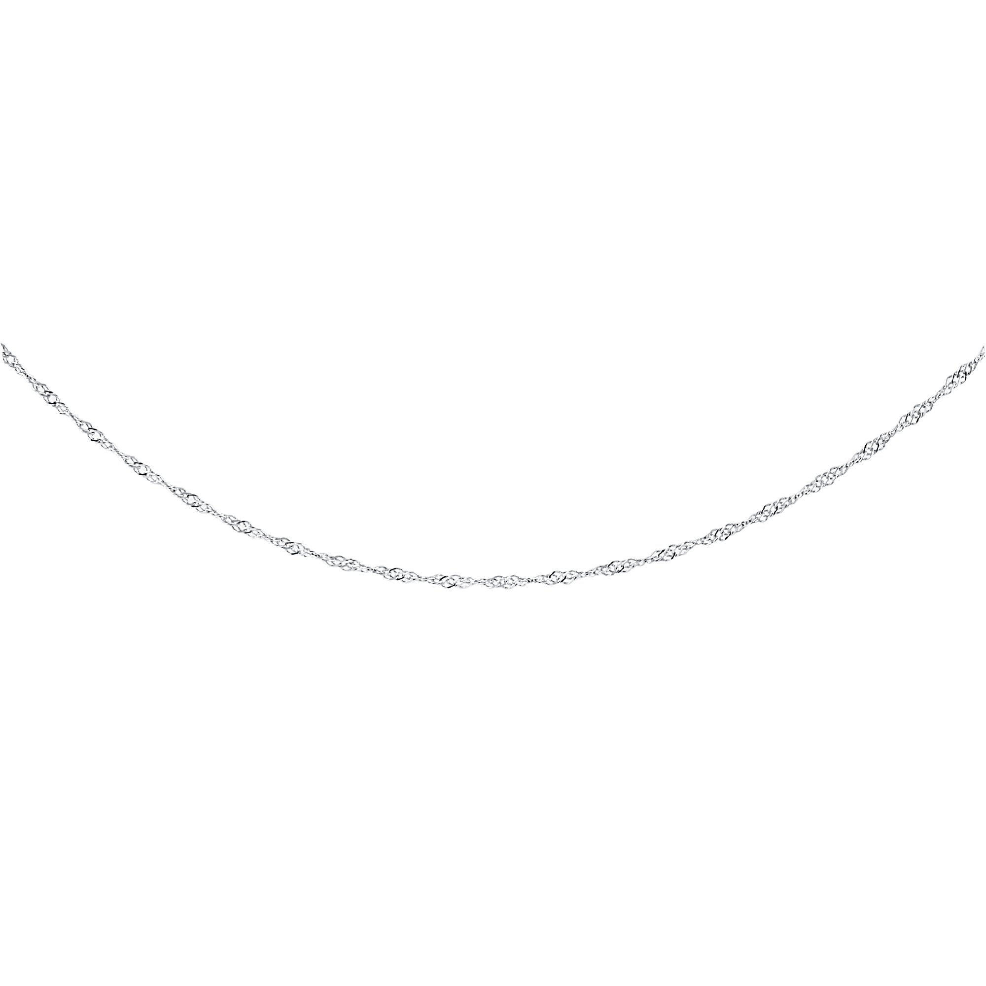 16'' Singapore Chain for ladies - 10K white Gold