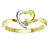 Lady's heart ring - 10K 2-tone Gold (yellow and white) & Cubic zirconia