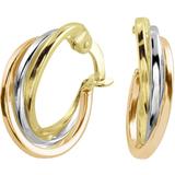 Boucles d'oreilles anneaux - en Or 3-tons 10K (jaune blanc et rose)