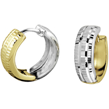 Hoop earrings - in 10K 2 tone Gold (yellow and white)