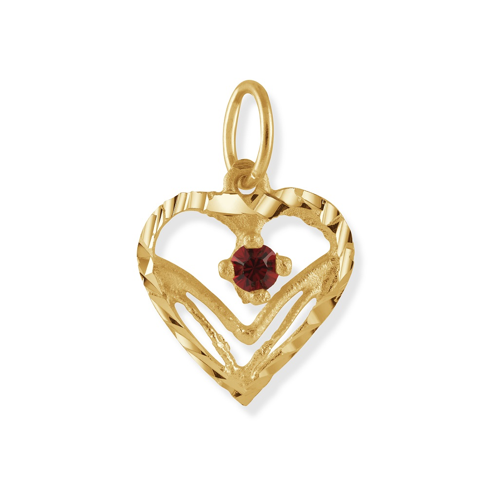 Heart pendant with synthetic Birthstone - 10K yellow Gold