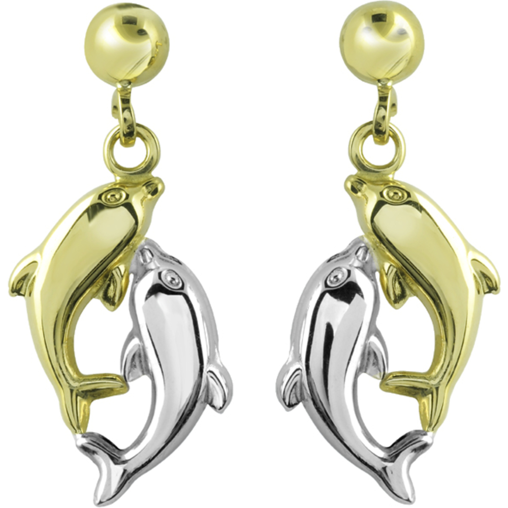 Boucles d'oreilles dauphins pendantes à tiges fixes - en Or 2-tons 10K (jaune et blanc)