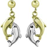 Boucles d'oreilles dauphins pendantes à tiges fixes - en Or 2-tons 10K (jaune et blanc)