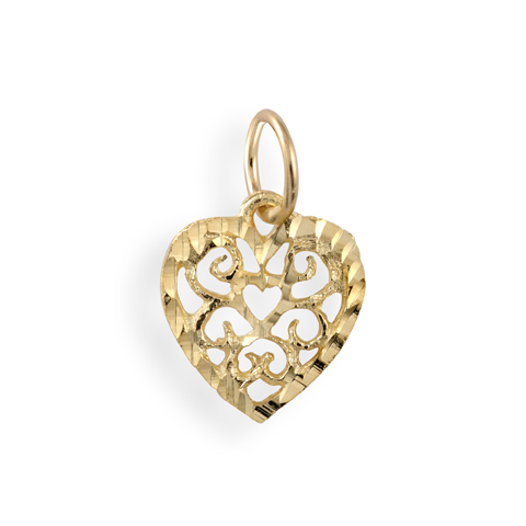 Heart pendant for children - 10K yellow Gold