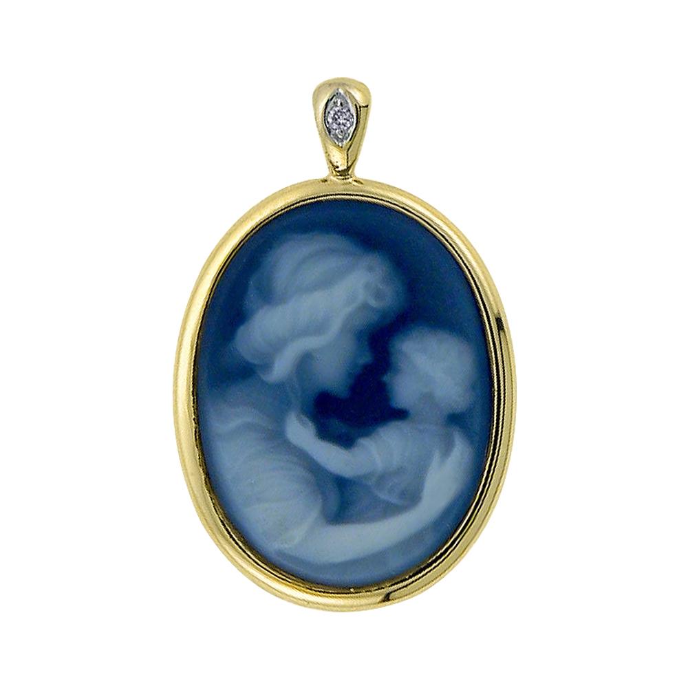 Pendentif mère et enfant pour femme - Or jaune 10K avec agate bleu & diamant