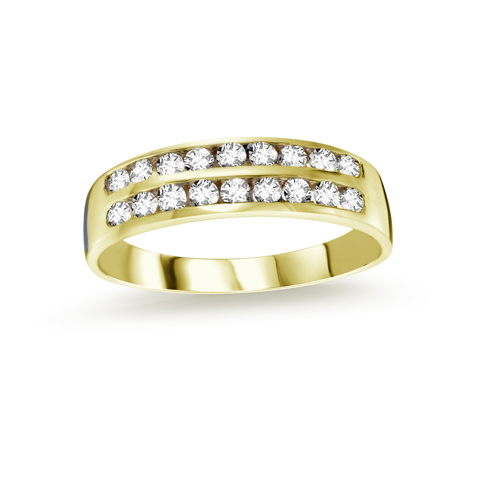 Band with multiple cubic zirconia - 10K yellow Gold