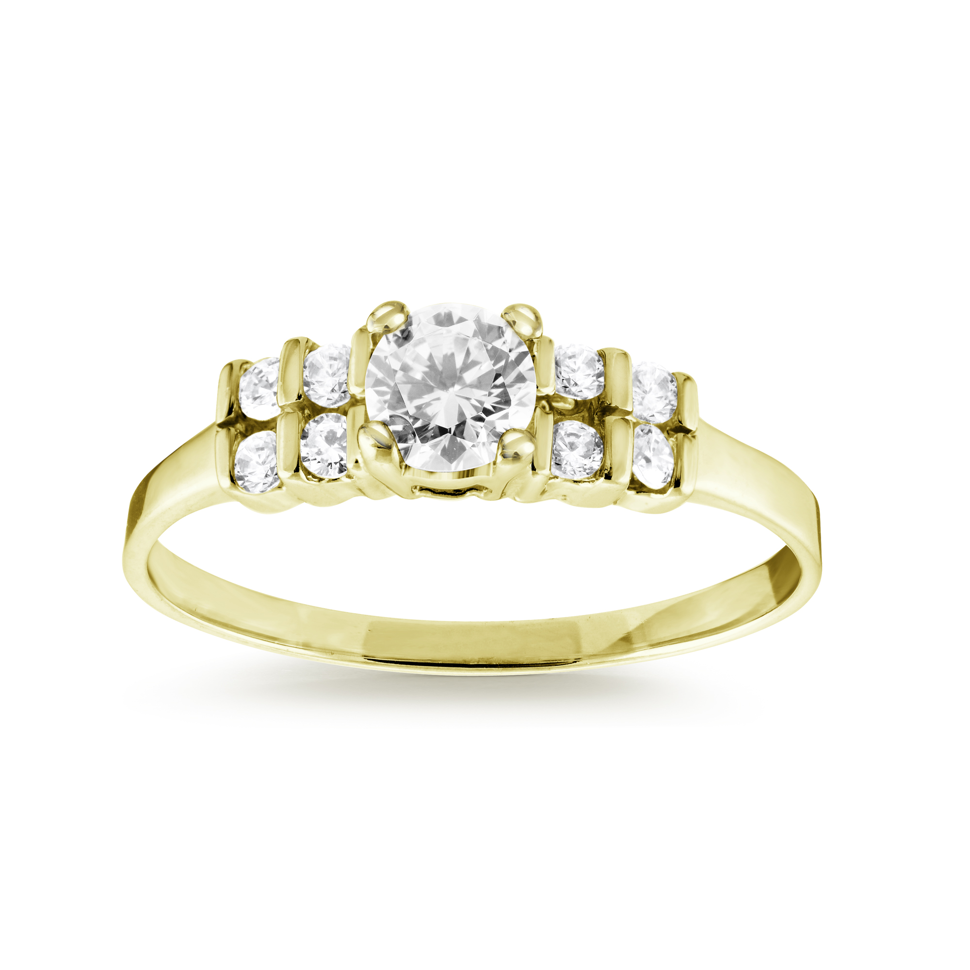Ring with multiple cubic zirconia - 10K yellow Gold
