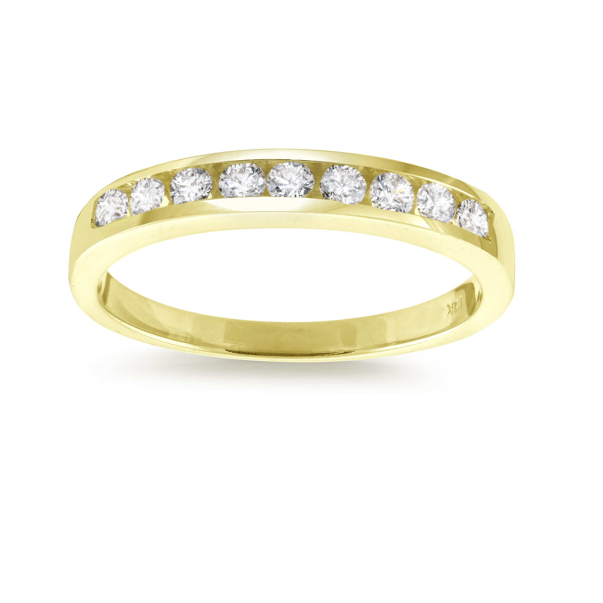 Band with cubic zirconia - 10K yellow Gold