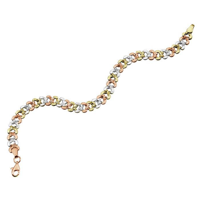 Bracelet 7.5'' pour femme - Or 10K 3 tons