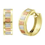 Huggies earrings - 10K 3 tone Gold (yellow white and rose)