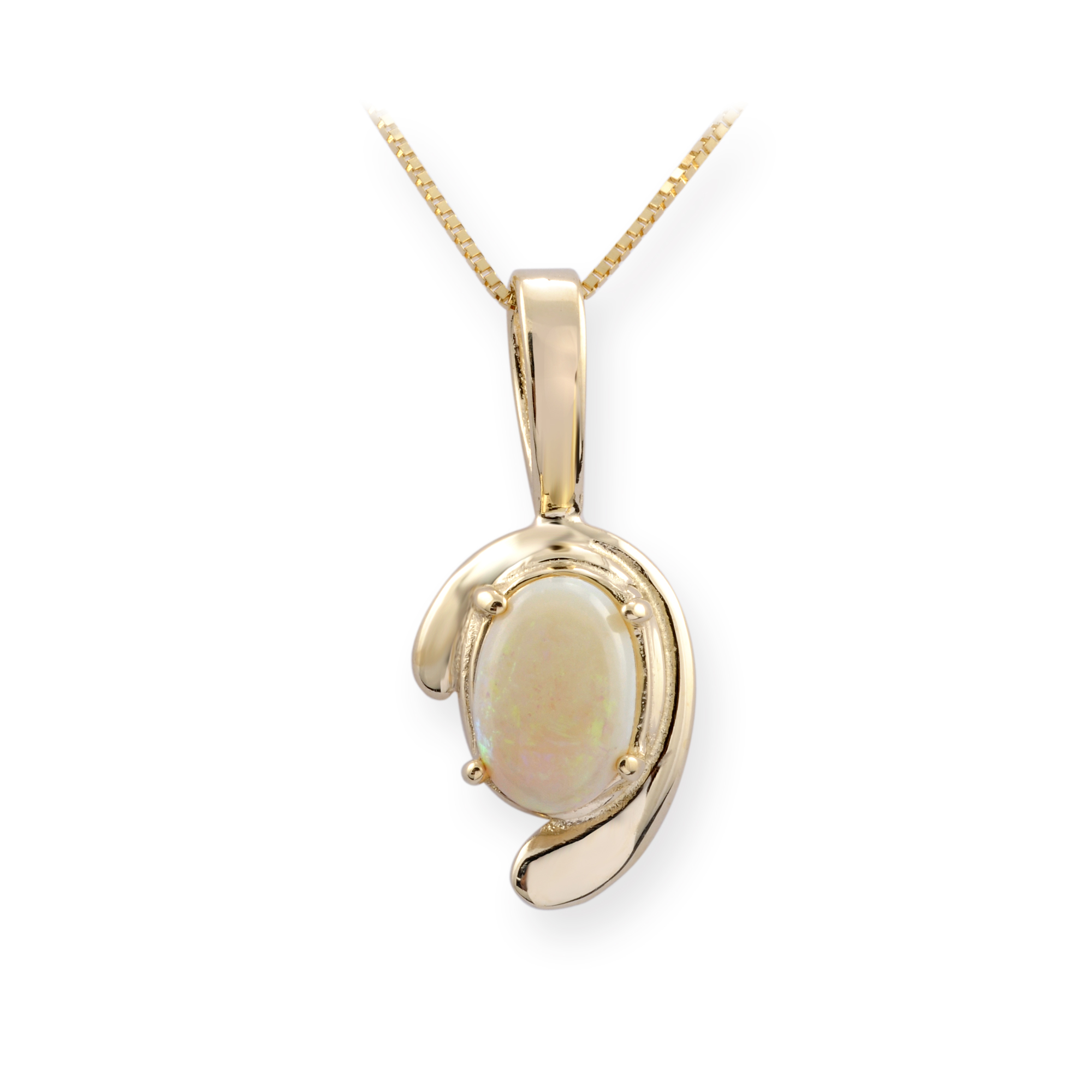 Pendant for women - 10K yellow Gold & Opal