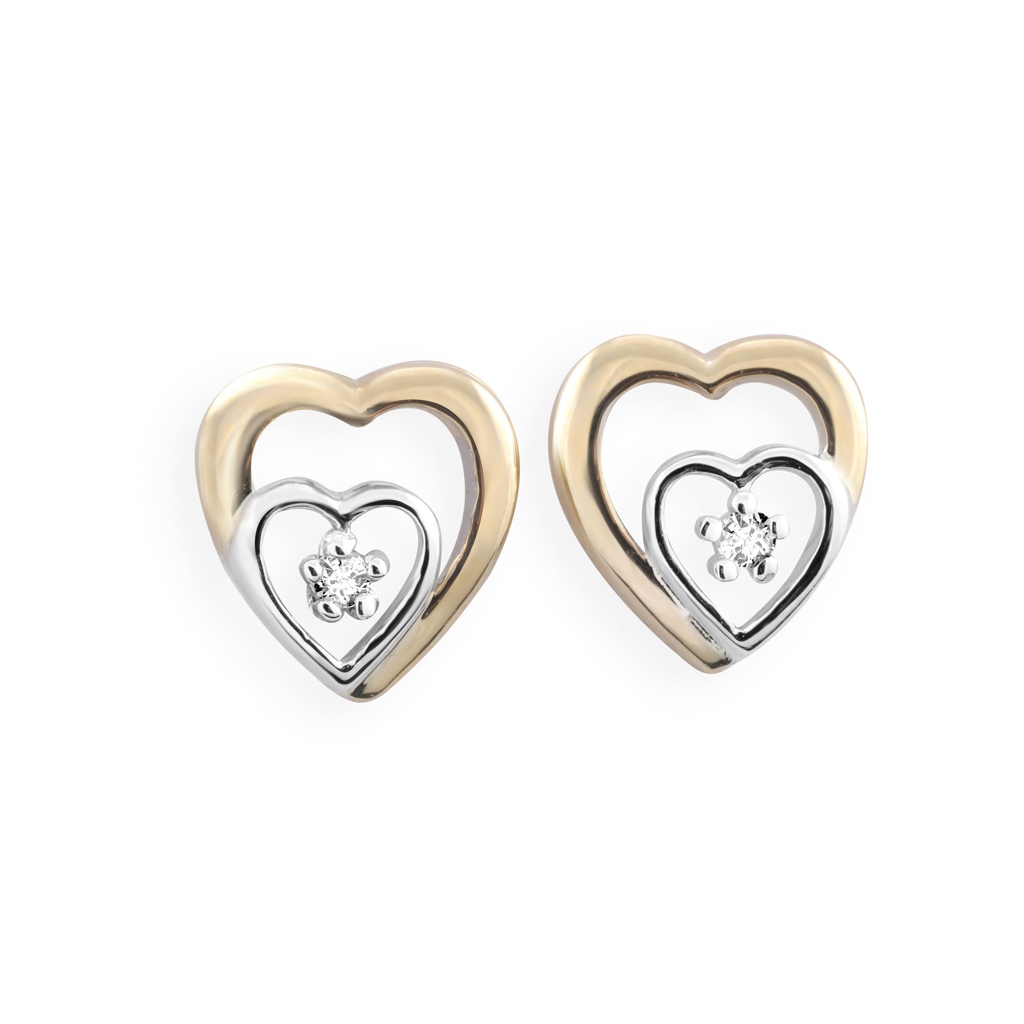 Boucles d'oreilles double coeurs à tiges fixes - Or 10K 2-tons (jaune et blanc) & Diamants totalisant 0.02 Carat