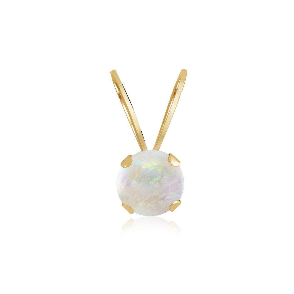 Pendentif pour enfant avec opale véritable - Or jaune 14K