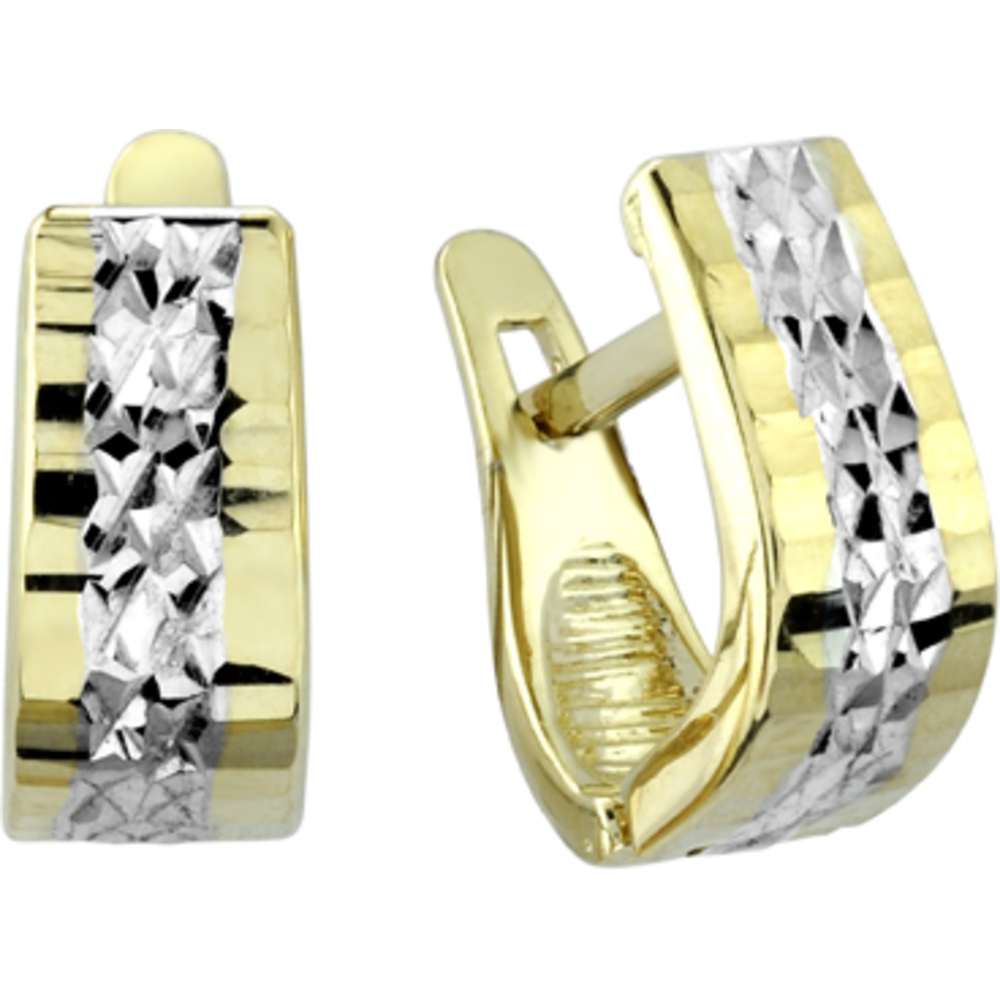 Square hoop earrings - 10K 2 tone Gold (yellow and white)