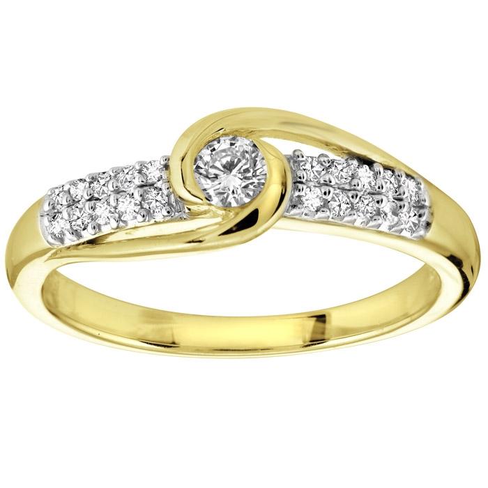 Bague pour femme - Or jaune 10K & Diamants totalisant 0.20 Carat