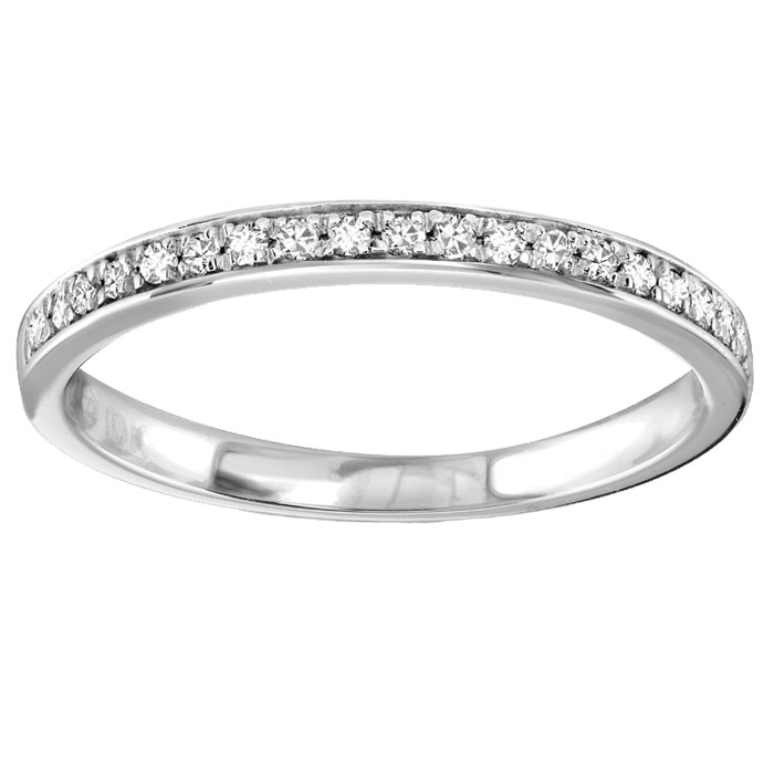 Half-eternity band for woman - 10K white Gold & Diamonds