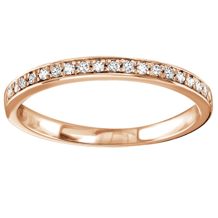 Half-eternity band for woman - 10K rose Gold & Diamonds