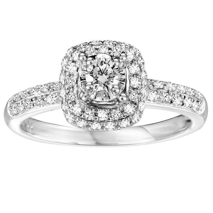 Engagement ring - 10K white Gold & Diamonds 0.38 Carat T.W.