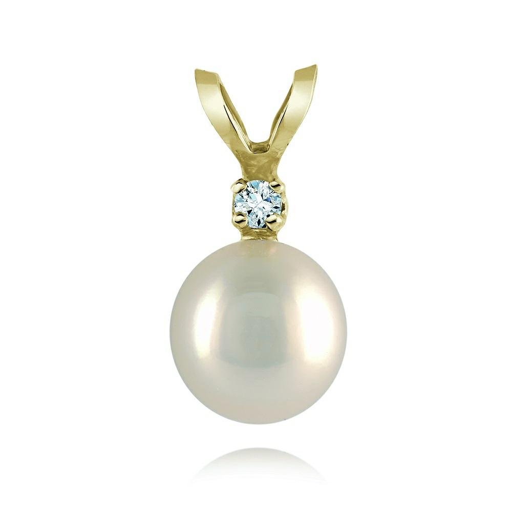 Pendentif en or jaune 14K avec perle cultivé blanche de 6-6.5mm et diamant de 0.02 Carats -  Pureté: I  Couleur: GH