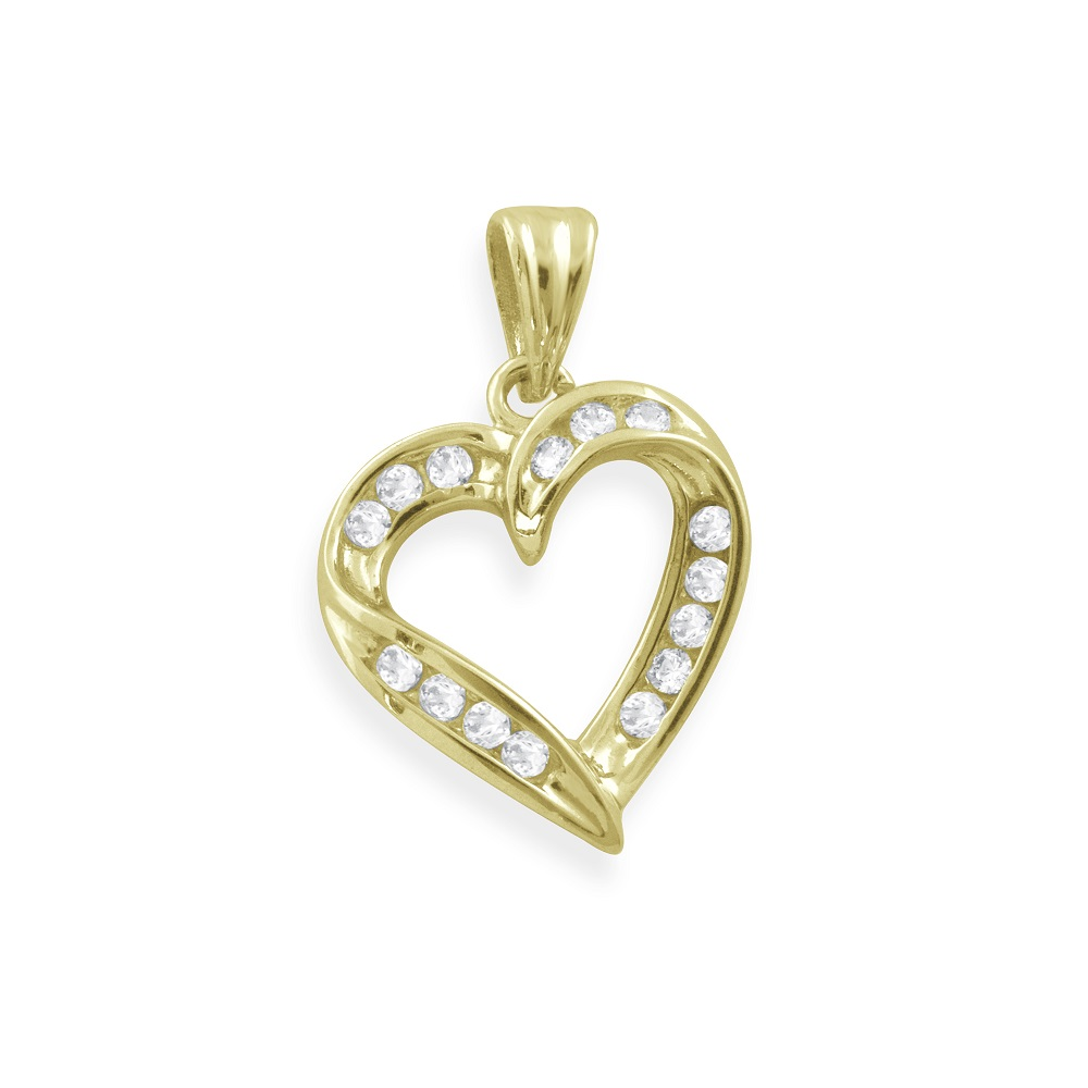 Heart Pendant in 10K Yellow Gold with Cubic Zirconia
