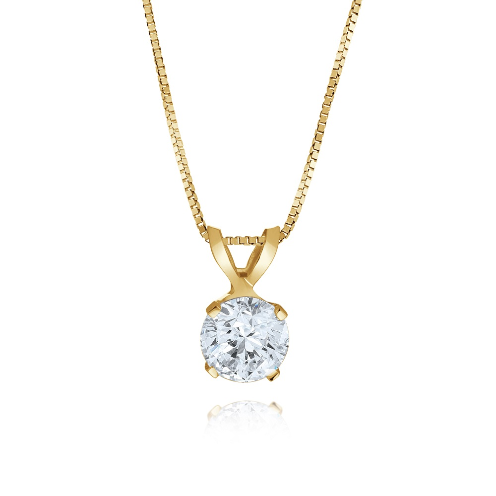 Pendant for woman - 14K Yellow Gold & Solitaire Cubic Zirconia