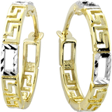 Hoop earrings in - 10K 2 tone Gold (yellow and white)