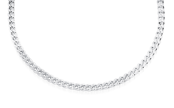 30'' Curb chain for women - Sterling silver