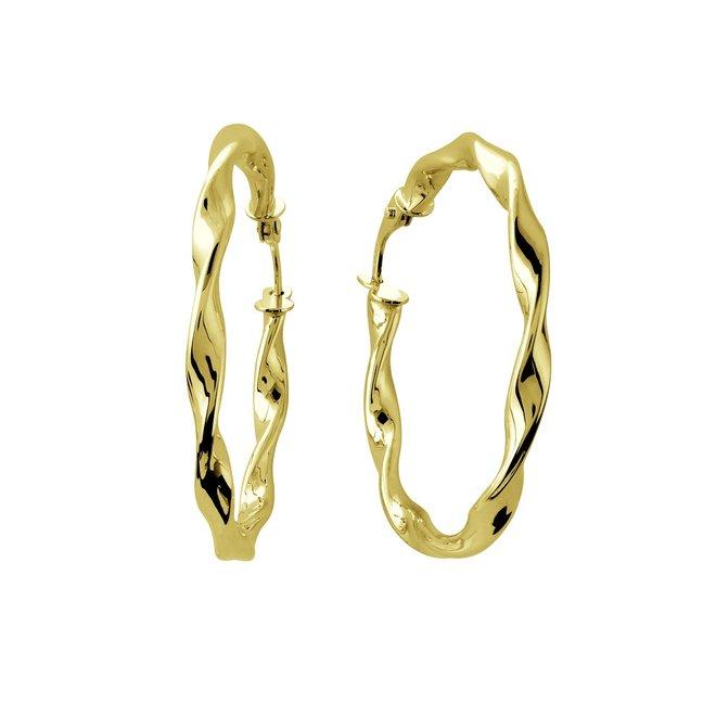 Boucles d'oreilles anneaux torsadées - Or jaune 10K