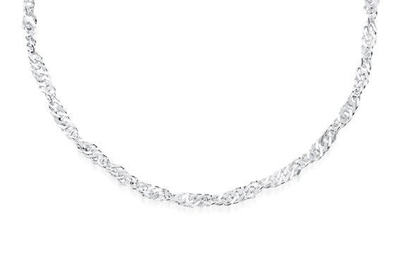 18'' Singapore Chain for ladies - Sterling silver