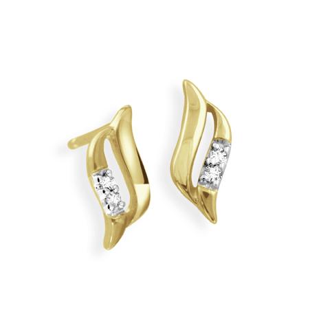 Boucles d'oreilles à tiges fixes - Or jaune 10K & Diamants totalisant 0.02 Carat