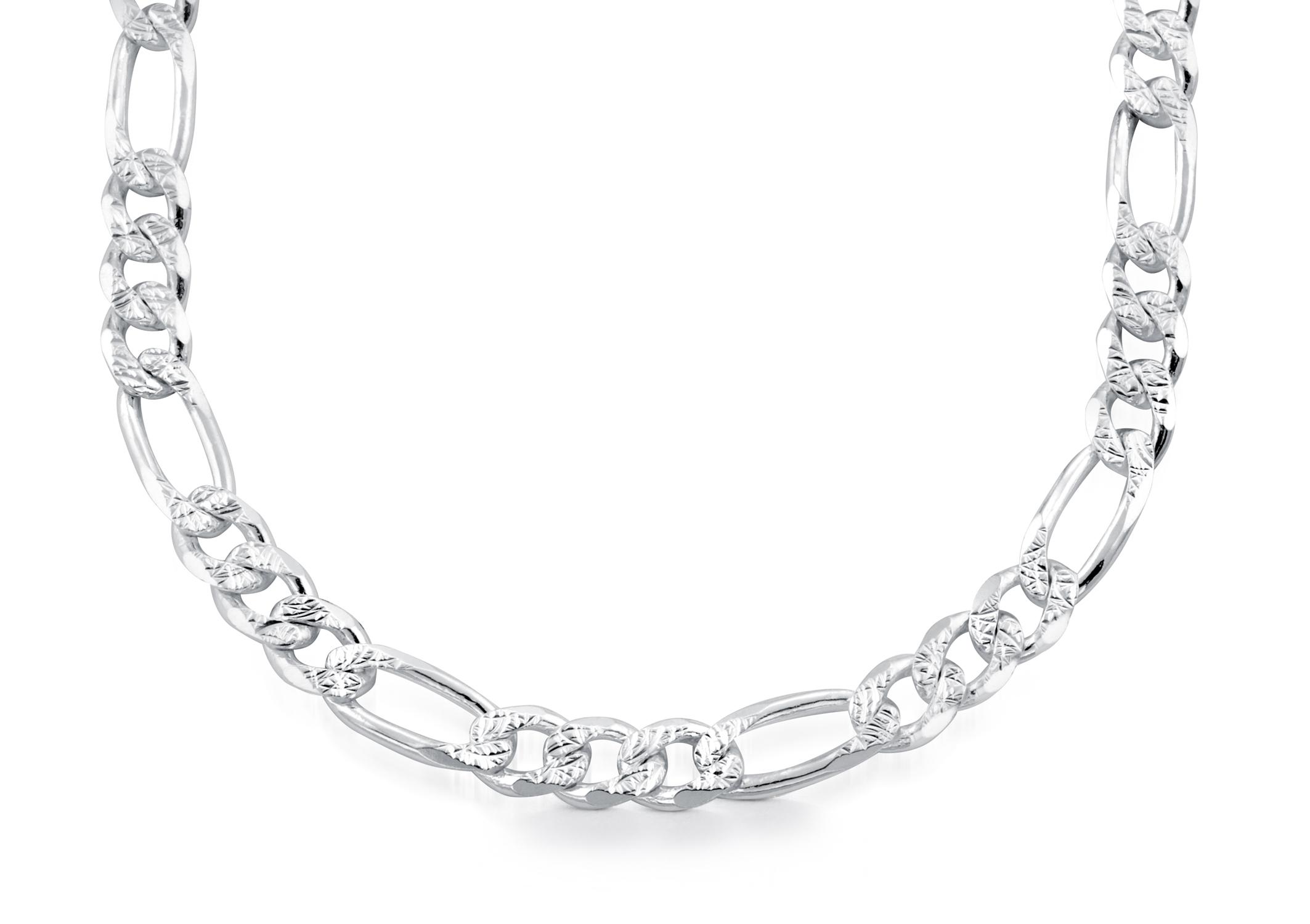 Bracelet Figaro 8.5'' pour homme - Argent sterling