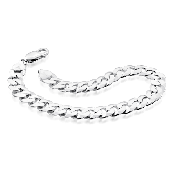 8.5'' Men's curb bracelet - Sterling silver