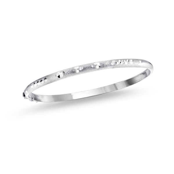 Women's oval-shaped bangle - Sterling silver