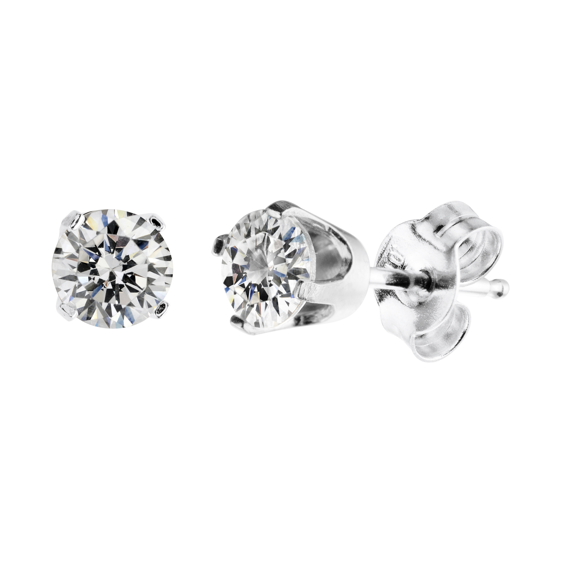 Stud Earrings with cubic zirconia of 2 X 0.025 Carats - in 14K White Gold