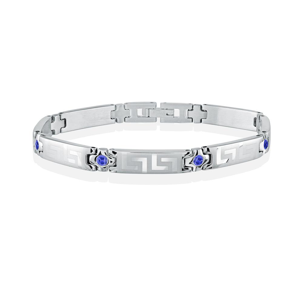 Greek patterned bracelet for women - Stainless steel & Blue cubic zirconia