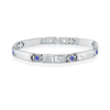 Greek patterned bracelet for women - Stainless steel & Blue cubic zirconia