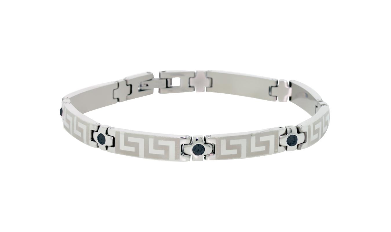 Women's bracelet - Stainless steel & Black cubic zirconia