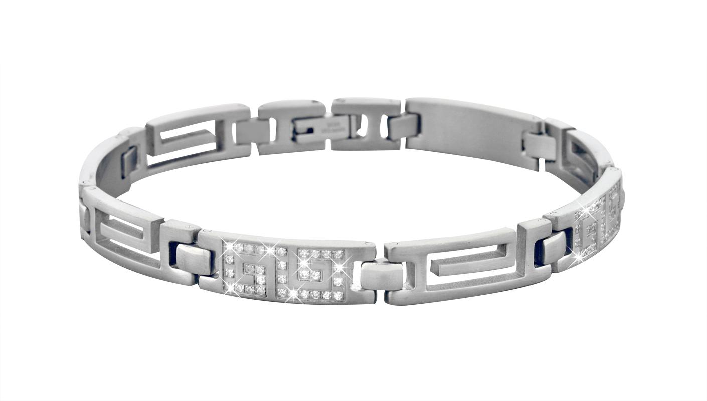 Men's bracelet - Stainless steel & Cubic zirconia
