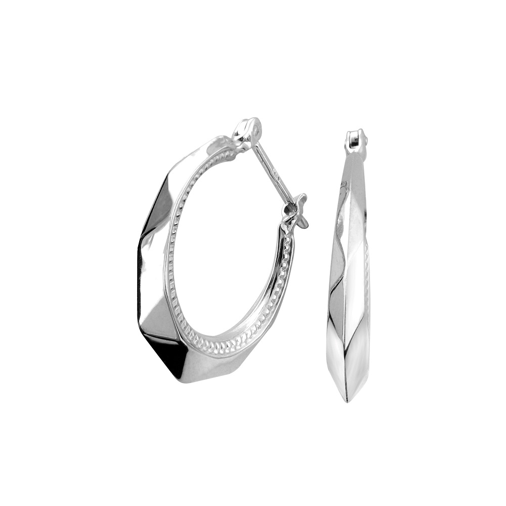 Hoop earrings with a polished finish - 10K white Gold