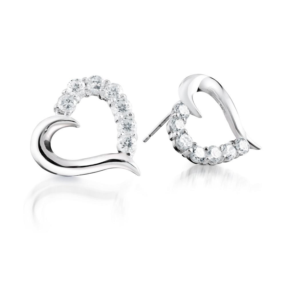 Boucles d'Oreilles 'Coeurs' à Tiges Fixes en Or Blanc 14K avec Cubiques Zircons